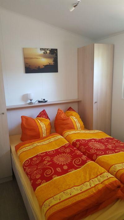 Mobilheim Schlafzimmer Doppelbett