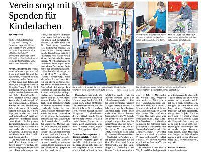Zeitungsartikel Spendenübergabe an Stolpersteinchen März 2017